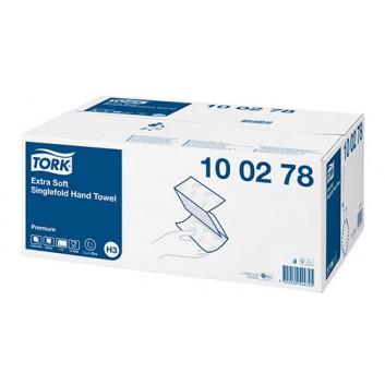 TORK Papierhandtuch 2-lagig weiß Premium; 2-lagig; V-Falz / Typ H3; 23 x 23 cm (B x L); Premium Tissue plus; hochweiß, Lorbeerblattprägung