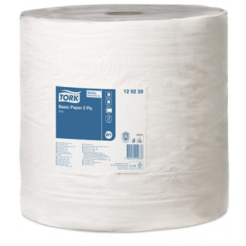TORK Putztuch, Maxirolle; 37,0 x 34,0 cm (B x L); 2-lagig; weiß; 680 m = 2000 Tücher; Tissue; Standard-Papierwischtuch; für Spender W1