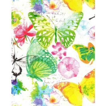 Geschenkpapier; 50 cm x 50 m; Schmetterlinge; bunt auf weiß; A8285; Geschenkpapier gestrichen weiß, glatt; Midirolle; ca. 80 g/qm