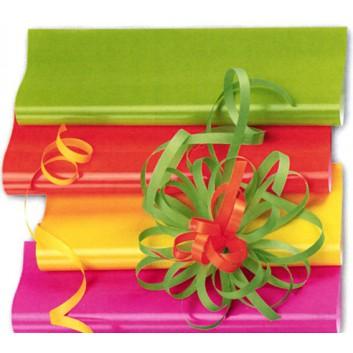 Geschenkpapier - Lackpapier; 70 cm x 50 m; uni, einseitig farbig; neon-gelb, Rückseite: weiß-matt; 2004-22; Offset weiß, glatt; 20m-Minirolle