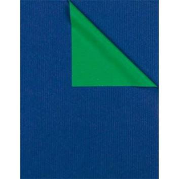Geschenkpapier; 50 cm x 250 m / 70 cm x 250 m; bicolor, zweiseitig farbig; kobaltblau-smaragdgrün; 316666; Kraftpapier, weiß enggerippt