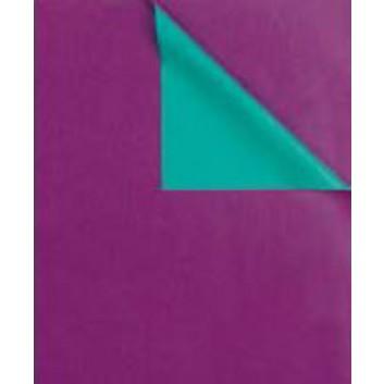 Geschenkpapier; 50 cm x 100 m; bicolor, zweiseitig farbig; purple-wasserblau; 31670; Kraftpapier, weiß enggerippt; 100m-Maxirolle; ca. 60 g/qm