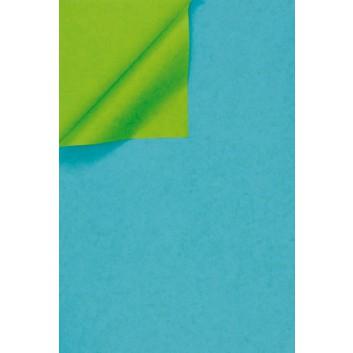 Geschenkpapier; 50 cm x 100 m; bicolor, zweiseitig farbig; wasserblau-kiwigrün; 331644; Kraftpapier, weiß enggerippt; 100m-Maxirolle; ca. 60 g/qm