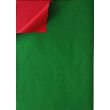 Geschenkpapier; 50 cm x 100 m; bicolor, zweiseitig farbig; dunkelgrün-rot; 331648; Kraftpapier, weiß enggerippt; 100m-Maxirolle; ca. 60 g/qm