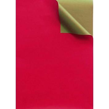 Geschenkpapier; 50 cm x 100 m; bicolor, zweiseitig farbig; rot-gold; 331649; Kraftpapier, weiß enggerippt; 100m-Maxirolle; ca. 60 g/qm