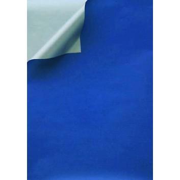 Geschenkpapier; 50 cm x 100 m; bicolor, zweiseitig farbig; dunkelblau-silber; 331650; Kraftpapier, weiß enggerippt; 100m-Maxirolle; ca. 60 g/qm