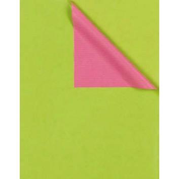 Geschenkpapier; 50 cm x 100 m; bicolor, zweiseitig farbig; kiwi-rosa; 731665; Kraftpapier, weiß enggerippt; 100m-Maxirolle; ca. 60 g/qm