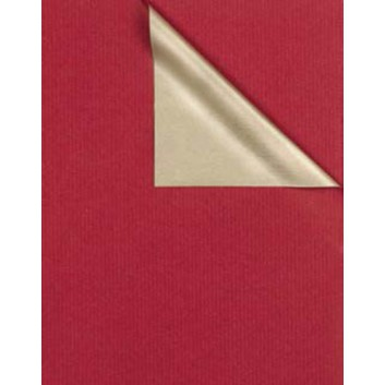 Geschenkpapier; 50 cm x 100 m; bicolor, zweiseitig farbig; bordeaux-gold; 531667; Kraftpapier, weiß enggerippt; 100m-Maxirolle; ca. 60 g/qm