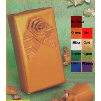 Geschenkpapier - Satinpapier; 70 cm x 20 m; uni, einseitig farbig; orange, Rückseite: weiß-matt; 24-Arancio; Offset weiß, glatt; 20m-Minirolle