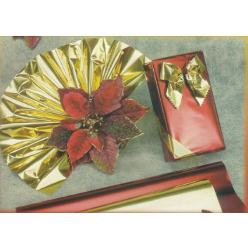 Geschenkpapier - Metallicpapier; 70 cm x 10 m; uni, einseitig farbig; gold / silber / rot, Rückseite: weiß-mat; Offset metallisiert, weiß, glatt