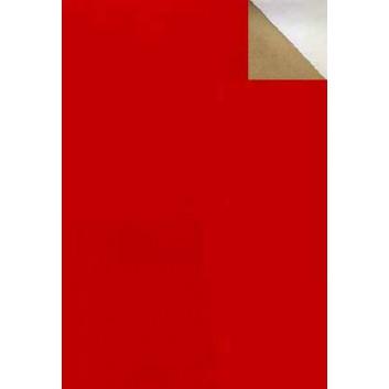 Geschenkpapier; 70 cm x 50 m; bicolor, zweiseitig farbig; rot-gold; 2003-58; Offset, glatt; 50m-Midirolle; Farbseite: matt; gold/silber: leicht glä