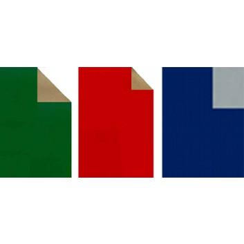Geschenkpapier; 70 cm x 50 m; bicolor, zweiseitig farbig; rot-gold / grün-gold / blau-silber; Offset, glatt; 50m-Midirolle