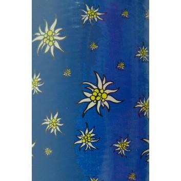 Geschenkpapier; 70 cm x 100 m; Edelweiß auf blau; blau; 24; Offset weiß, glatt; 100m-Maxirolle
