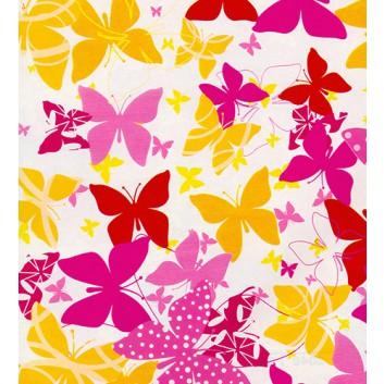 Geschenkpapier; 70 cm x 100 m; Schmetterlinge; orange-pink-rot; 2048-66; Offset weiß, glatt; 100m-Maxirolle; Rückseite unbedruckt weiß