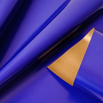 Geschenkpapier; 50 cm x 250 m; bicolor, zweiseitig farbig; kobaltblau-glänzend - gold-metallic; 11142; Offset weiß, glatt; Secare-Rolle