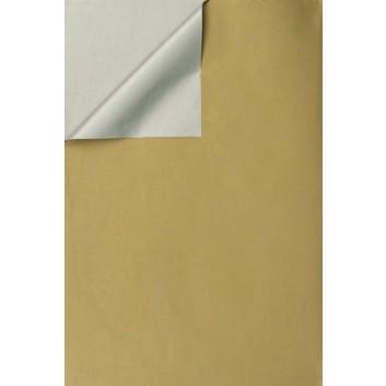 Geschenkpapier; 50 cm x ca. 250 m; bicolor, zweiseitig farbig; gold-silber; 331647; Kraftpapier, weiß enggerippt; Secare-Rolle; ca. 60 g/qm