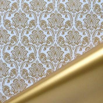 Geschenkpapier; 50 cm / 70 cm x 250 m, Secare-Rolle; Sanssouci: Barocke Ornamente + Uni; gold-weiß - Rückseite: gold; 11893