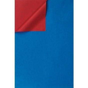 Geschenkpapier; 50 cm x 250 m / 70 cm x 250 m; bicolor, zweiseitig farbig; blau-rot; 331643; Kraftpapier, weiß enggerippt; Secare-Rolle