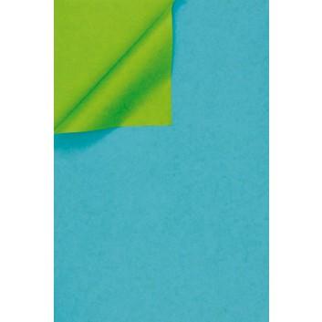 Geschenkpapier; 50 cm x 250 m / 70 cm x 250 m; bicolor, zweiseitig farbig; wasserblau-kiwigrün; 331644; Kraftpapier, weiß enggerippt; Secare-Rolle
