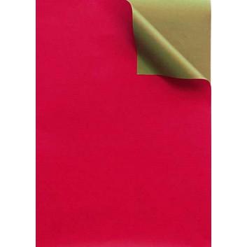 Geschenkpapier; 50 cm x 250 m / 70 cm x 250 m; bicolor, zweiseitig farbig; rot-gold; 331649; Kraftpapier, weiß enggerippt; Secare-Rolle