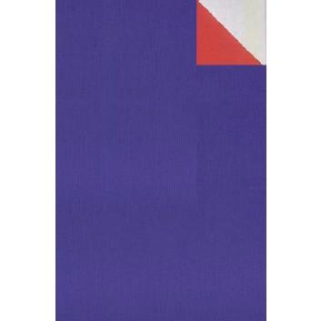 Geschenkpapier; 50 cm x 250 m; bicolor, zweiseitig farbig; royalblau-rot; 60034; Kraftpapier, weiß-enggerippt; Secare-Rolle