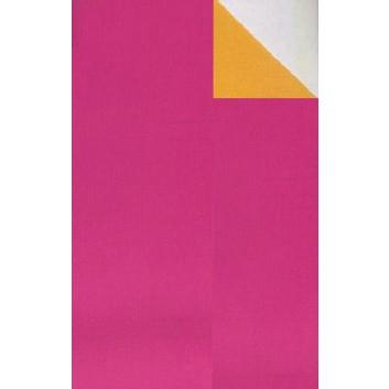 Geschenkpapier; 50 cm x 250 m; bicolor, zweiseitig farbig; pink-mandarine; 60042; Kraftpapier, weiß-enggerippt; Secare-Rolle