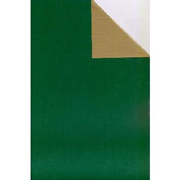Geschenkpapier; 50 cm x 250 m; bicolor, zweiseitig farbig; grün-gold; 60049; Kraftpapier, braun-enggerippt; Secare-Rolle