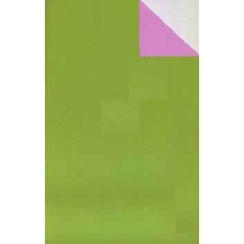 Geschenkpapier; 50 cm x 250 m; bicolor, zweiseitig farbig; kiwigrün-rosa; 60093; Kraftpapier, weiß-enggerippt; Secare-Rolle