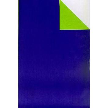 Geschenkpapier; 50 cm x 250 m / 70 cm x 250 m; bicolor, zweiseitig farbig; royalblau-hellgrün; 60033; Kraftpapier, weiß enggerippt; Secare-Rolle