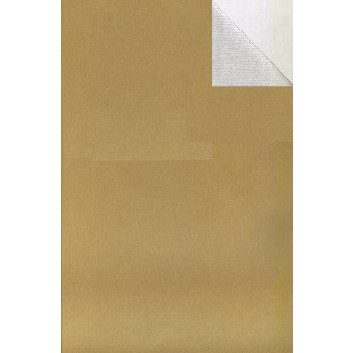 Geschenkpapier; 50 cm x 250 m / 70 cm x 250 m; bicolor, zweiseitig farbig; gold-silber; 60048; Kraftpapier, braun enggerippt; Secare-Rolle