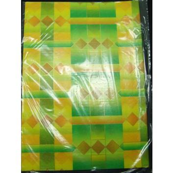 Geschenkseide; 50 x 75 cm; Grafikmotiv mit Rhomben; orange-gelb-grün; Seide, geprägt; Bogen, einmal gelegt