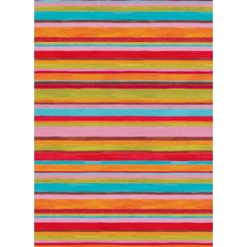 Geschenkseide; 50 x 75 cm; Streifen; bunt: rot-blau-rosa-grün; 262175; Seide, geprägt; Bogen, einmal gelegt; ca. 25 g/qm