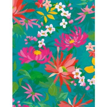 Geschenkseide; 50 x 75 cm; Blumen; bunt auf petrol; 562510; Seide, geprägt; Bogen, einmal gelegt; ca. 25 g/qm