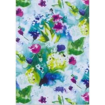 Geschenkseide; 50 x 70 cm; Blumen-Aquarell; blau-grün-lila; 662612; Seide, geprägt; Bogen, einmal gelegt; ca. 25 g/qm