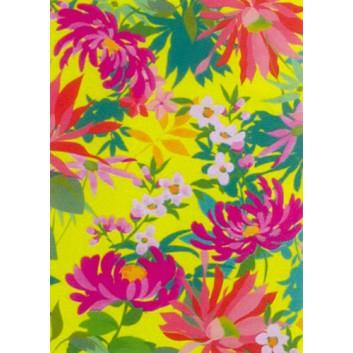 Geschenkseide; 50 x 70 cm; Blumen; gelb-grün-rosa; 662614; Seide, geprägt; Bogen, einmal gelegt; ca. 25 g/qm