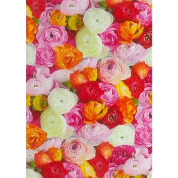 Geschenkseide; 50 x 70 cm; Fotomotiv: Blumen; weiß-orange-rot-rosa; 662628; Seide, geprägt; Bogen, einmal gelegt; ca. 25 g/qm