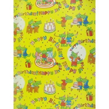 Geschenkseide; 50 x 70 cm; Kindermotiv: Nilpferde mit Torte; gelb-rot-rosa-blau; Seide, geprägt; Bogen, einmal gelegt; ca. 25 g/qm