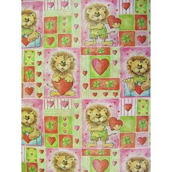 Geschenkseide; 50 x 70 cm; Kindermotiv: Löwe mit Herz; rot-grün-rosa; Seide, geprägt; Bogen, einmal gelegt; ca. 25 g/qm