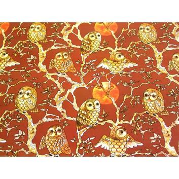Geschenkpapier - Sonderpreis je kg; 70 x 100 cm; Eule vor Sonnenuntergang; braun-beige-schwarz-orange; Offset, glatt; Bögen gelegt