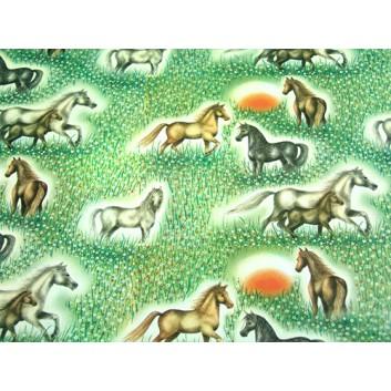 Geschenkpapier - Sonderpreis je kg; 70 x 100 cm; Pferde auf bunter Blumenwiese; grün-gelb-rot-schwarz-grau-weiss; Offset, glatt; Bögen gelegt