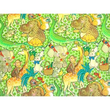 Geschenkpapier - Sonderpreis je kg; 70 x 100 cm; Kindermotiv: lustige Zootiere; grün-braun-gelb-rot-blau; Offset, glatt; Bögen gelegt