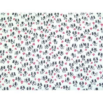 Geschenkpapier - Sonderpreis; 70 x 100 cm, gerollt; Hündchen auf Pilzjagd; schwarz-weiss-pink; Offset, glatt; Bögen gerollt