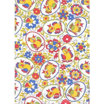 Geschenkseide - Sonderpreis je kg; 50 x 70 cm; Küken im Ei (Ostermotiv); bunt; Seide, geprägt; Bogen, einmal gelegt; Seide: 1 kg = ca. 55 Bogen