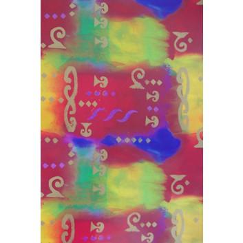Geschenkpapier; 70 x 100 cm; Regenbogenfarben mit Goldornamenten; naturfarben; Offsetpapier einseitig bedruckt; Bogen, einmal gelegt