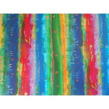 Geschenkpapier; 70 x 100 cm; Farbverlauf mit Goldeffekt; grün-rot-blau-orange-gold; Offsetpapier einseitig bedruckt; Bogen, einmal gelegt