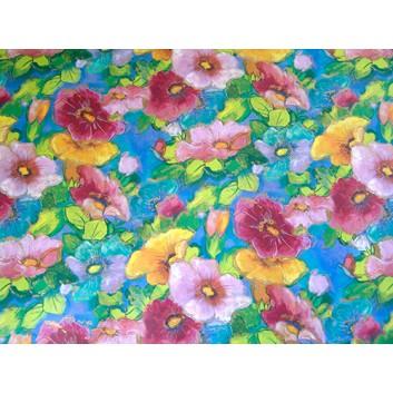Geschenkpapier; 70 x 100 cm; Blumen kunterbunt; blau-gelb-grün-rosa-bordeaux; Offsetpapier einseitig bedruckt; Bogen, einmal gelegt