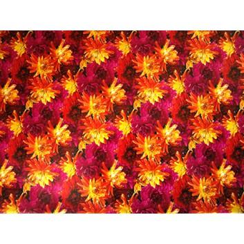 Geschenkpapier; 70 x 100 cm; Blumenmix dreifarbig; gelb-rot-pink; Offsetpapier einseitig bedruckt; Bogen, einmal gelegt