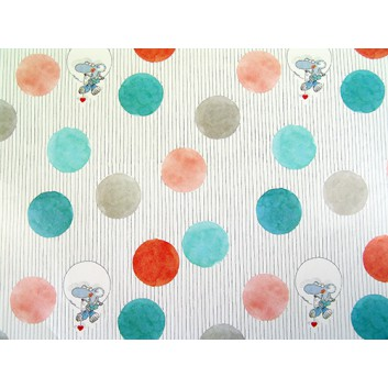 Geschenkpapier; 70 x 100 cm; Kindermotiv: Mäuserich mit Herz; mint-grau-apricot; Offsetpapier einseitig bedruckt; Bogen, einmal gelegt