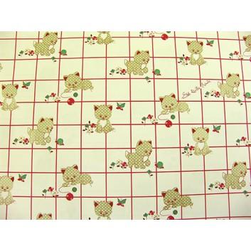 Geschenkpapier; 70 x 100 cm; Kindermotiv: Katzen; rot-grün-beige; Offsetpapier einseitig bedruckt; Bogen, einmal gelegt