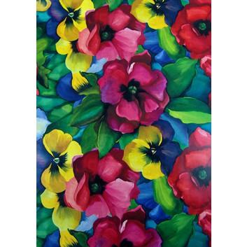 Geschenkpapier; 70 x 100 cm; bunte Stiefmütterchen; rot-gelb-grün-blau; Offsetpapier einseitig bedruckt; Bogen, einmal gelegt